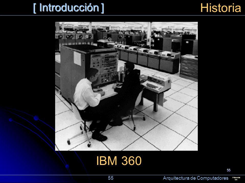 Historia IBM 360 [ Introducción ] 55 Arquitectura de Computadores